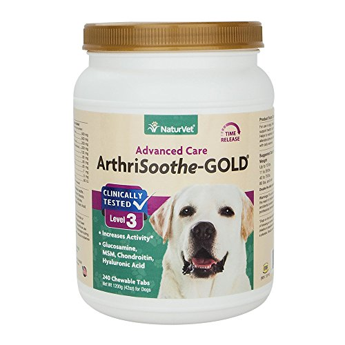 NaturVet ArthriSoothe-GOLD Level 3, MSM and Glucosamine for Dogs and Cats, Advanced Joint Care Support Supplement with Chondroitin and Omega 3, Clinically Tested, Chewable Tablets, Made in the USA, 24