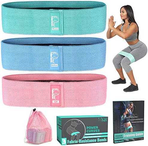Non Slip Fabric Resistance Bands - Booty Bands: Resistance Bands for Legs and Butt, Set of 3 14.3 Inch Workout Bands, for Booty and Lower Body Building, Training Guide Included