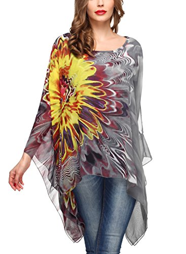 (DJT Women's Floral Printed Chiffon Caftan Poncho Tunic Top One Size Grey)