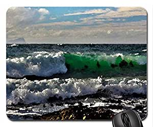 wonderful green waves Mouse Pad, Mousepad (Beaches Mouse Pad, 10.2 x 8.3 x 0.12 inches)