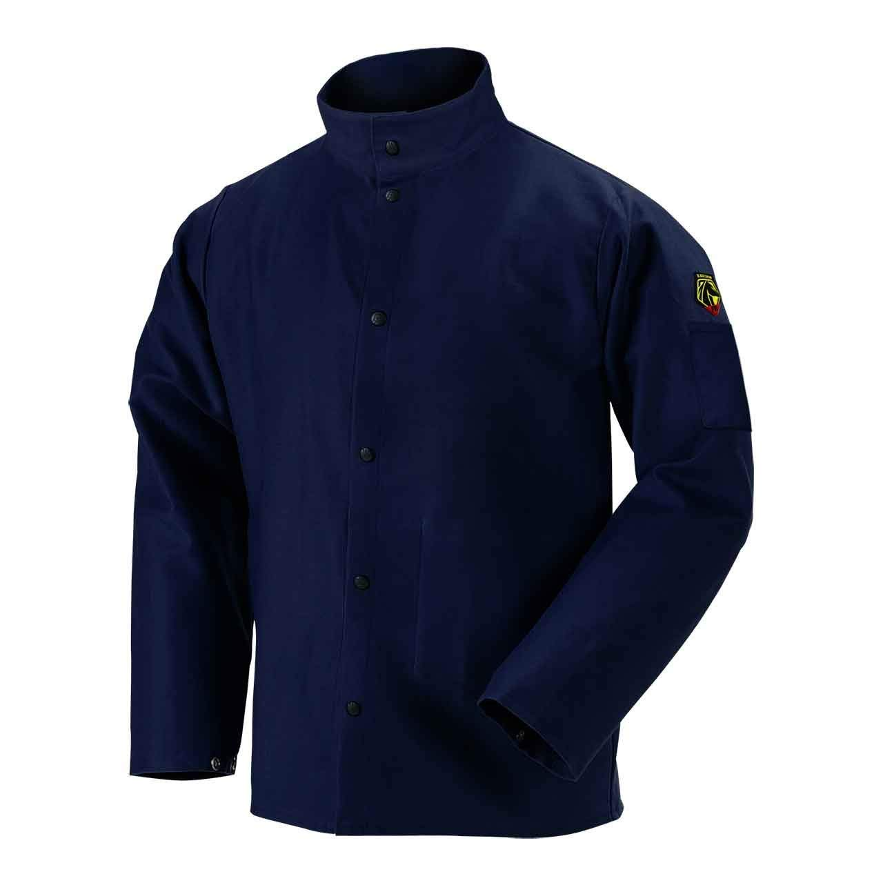 Black Stallion FN9-30C 30'' 9oz. Navy FR Cotton Welding Jacket, Large (2XLarge)