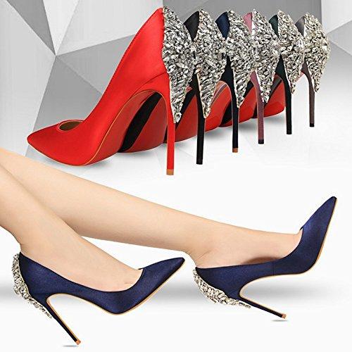 Europeo In stile SCARPE DONNA appuntita alto tacco Violet elegante raso scarpe e YMFIE in sottile SEXY diamante EpqTSdS4w