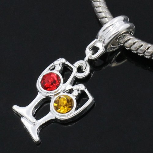 European Style Charm Slider Pendants | Cup Silver Color Multicolor with Rhinestone 3.1cm X 12mm (1 Piece)