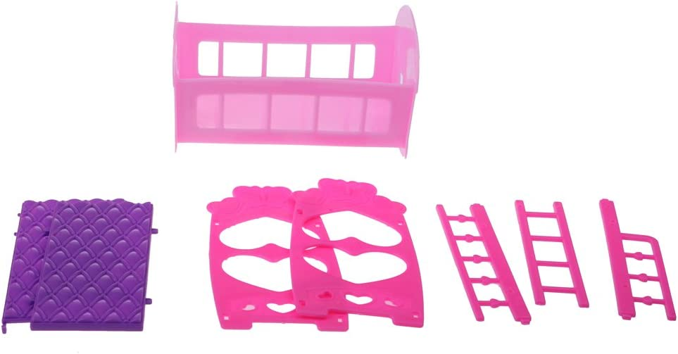 Dolls Pink Plastic Nursery Room Decoration for Dolls House Miniature Furniture 4 Pieces// Set