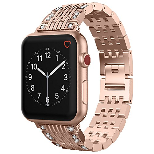 For Apple Watch Band 38mm, UMTELE Bling Rhinestone Stainless Steel Wristband with Jewelry Clasp for Apple Watch Series 3/2/1, Nike+, Rose Gold by UMTELE