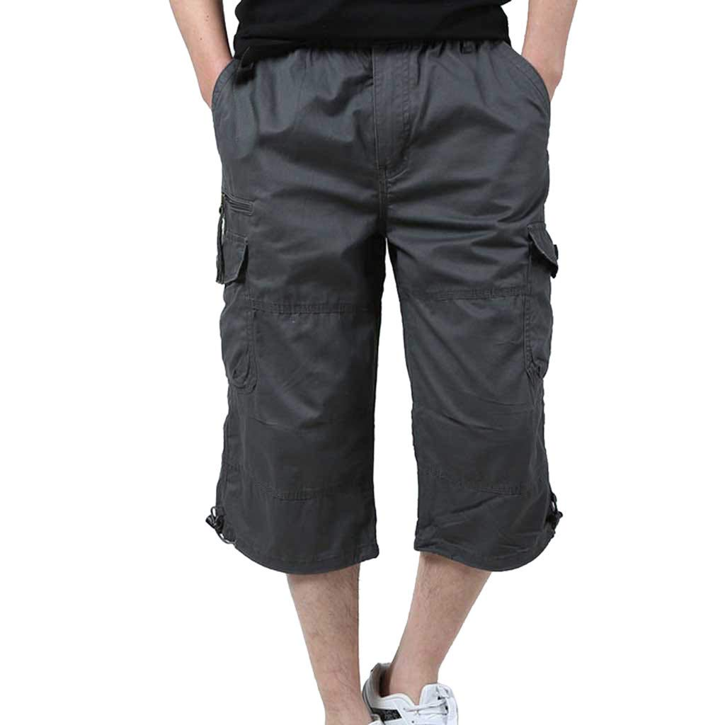 Cobcob Men 's Cargo Pant,Male Straight Fit Short Multi-Pocket Solid Joggers Trousers Stretch Cargo Pant