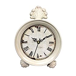Ashton Sutton Quartz Analog Table Clock, 7-Inch by 9-Inch, White with Finial Finish