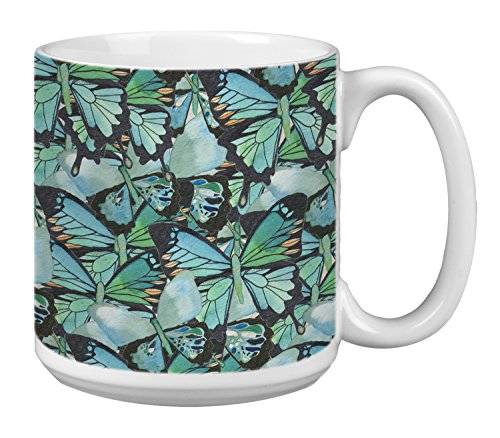 - Tree-Free Greetings Extra Large 20-Ounce Ceramic Coffee Mug, Amazing Blue Butterflies Themed Shell Rummel Art (XM29477)