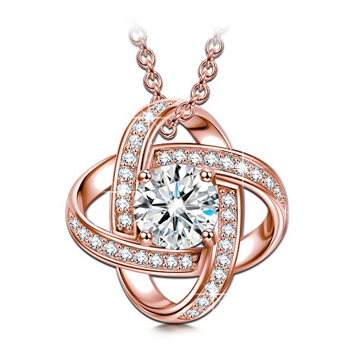 My Miss Gifts for Women Necklace Rose Gold Jewelry Silk of Love s925 Sterling Silver Pendant Necklace CZ Jewelry for Her Anniversary Gifts for Wife Women Girlfriend Birthday Gifts for ()