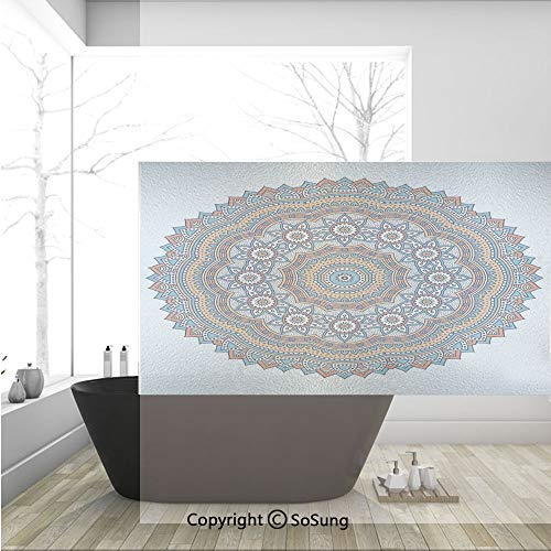 3D Decorative Privacy Window Films,Vintage Moroccan Sacred Hidden Mean Ritual Belief Diagram with Nature Harmony Form,No-Glue Self Static Cling Glass film for Home Bedroom Bathroom Kitchen Office -
