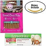 Premium Ferret Treats Chew Sticks Salmon Flavor For Ferret Training & Ferret Dental Care & Teeth Cleaner (1) High Calorie Vitamin Ferret Paste Ferret Vite (1) Thematic Bonus (1)