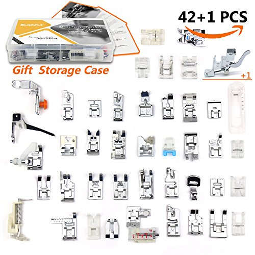42 pcs Presser Feet Set with Manual & Case & Adapter SIMPZIA Sewing Machine Foot Kit for Brother, Babylock, Janome, Singer,Elna, Toyota, New Home, Simplicity, Necchi, Kenmore, White (Low Shank) by SIMPZIA
