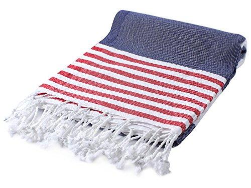 (Cacala Marina Series Peshtemal Turkish Hammam Bath Towels, Traditional Peshtemal Design for Bathrooms, Beach, Sauna, Ultra-Soft, Fast-Drying 37x70 100% Natural Cotton Navy)