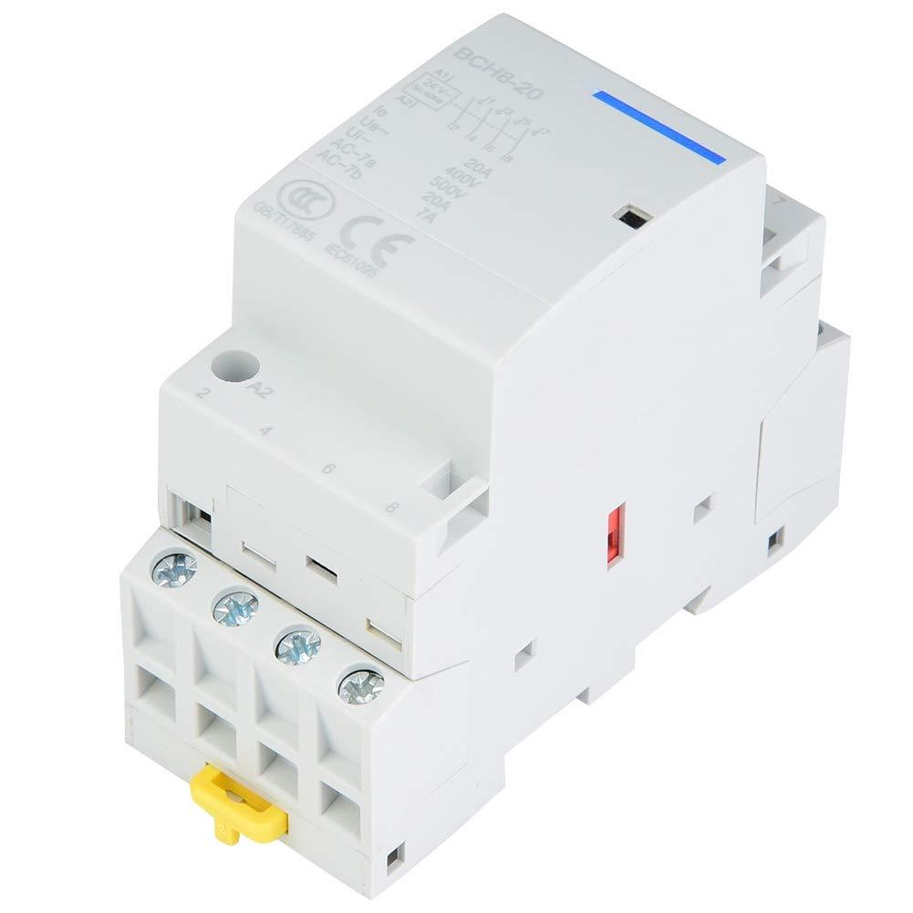 220V // 230V Contacteur /à CA de m/énage 4P 20A 2NO 2NC 24V 220V//230V b/âti de rail DIN de contacteur /à CA de m/énage pour les composants /électroniques domestiques