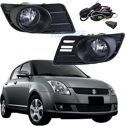 Bumper Driving Fog Lights Complete Kit Fog Lamp for Suzuki Swift 2007 2008 2009 2010 Direct Replacement Aftermarket Lights/1Pair w/Halogen Bulbs :H11-12V-55W HUAHEE_AP0353 ()
