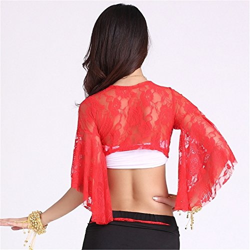 Danza del vientre Disfraz Set Lace Mariposa manga manga Top+Fish Tail Falda Red