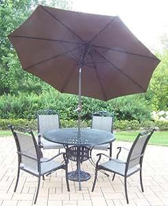 Oakland Living cascada para decoración de 7piezas, con Sunray mesa, 4sillas apilables, todos ninguno óxido aluminio, 9-Feet inclinación y manivela marrón paraguas y soporte