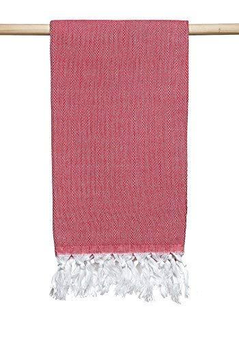 Atlantis Turkish Peshtemal Towel for Beach Bath All Red Herringbone Pattern 100% Cotton 40x69