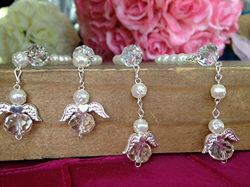 25 Pc Ivory Color Baptism Favors with Angels Mini Rosaries Silver Plated Acrylic Beads/ Recuerditos De Bautismo/ Christening Favors/ Decenarios/ Decades/ Finger Rosaries by hand made (Angels Party Bead)