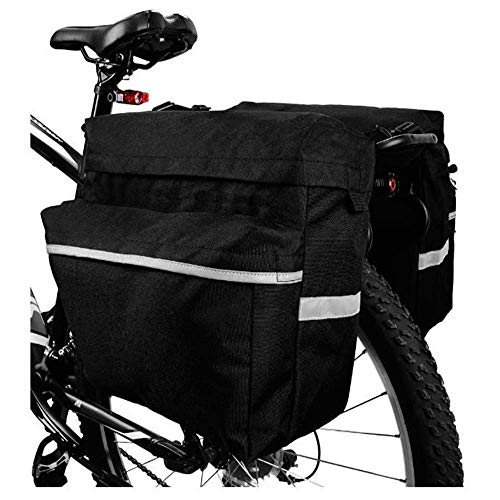 Ationgle Bike Rear Bag, Bicycle Panniers, Waterproof Cycling Bike Carrier Trunk for Outdoor Cycling Trips, Handbag with Carrying Handle, Reflective Belt Packages for Riding at Night