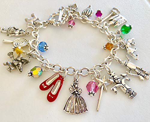 Wizard Of Oz Charm Bracelet, Story Bracelet, Fairy Tale Charm Bracelet, Classic Children's Story, Dorothy, Toto, Ruby Slippers, Swarovski Elements, Fantasy. ()