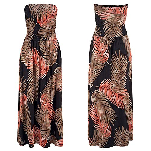 winkstores Summer Bohemian Floral Print Maxi Sundress Dress Woman Strapless Long Bandeau Dress,Orange Dress,S (Slumber Party Ideas For 9 Year Olds)