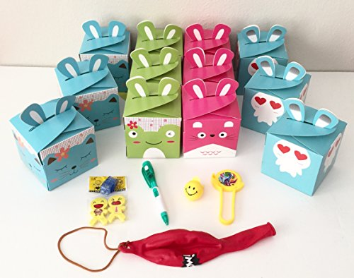 12x Pack Goody Bags Pre Made & Filled with Toys, Boys & Girls Goodie Bag, Filled Goody Bag / Loot Bag, Light up Toys & Candy; Pencil; Eraser; Sharpener; punch ()