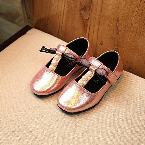 Hunpta Herbst Kinder Kinder Mädchen Perle Bogen Sandalen Casual Mode Bowknot flache Schuhe Rosa
