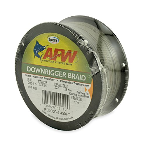 American Fishing Wire Downrigger Braid (Spectra Fibers), Green Color, 200 Pound Test, 137 meters