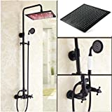Gowe Modern 12'' ORB LED Rain Shower Faucet Ceramic Handheld Shower Dual Cross Handles