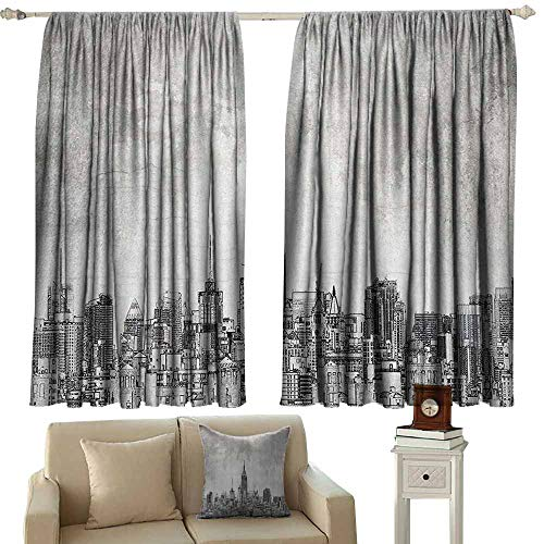 (Sunnyhome Outdoor Patio Curtains,Apartment Decor Collection Cosmopolitan New York City Skyline with Iconic Skyscrapers and High Buildings Artsy Design,Room Darkening Thermal,W55x72L Inches,Grey)