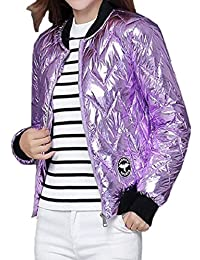 Smeiling-CA Women's Flight Quilted Stand Collar Metallic Color Zip Front Capris Coat