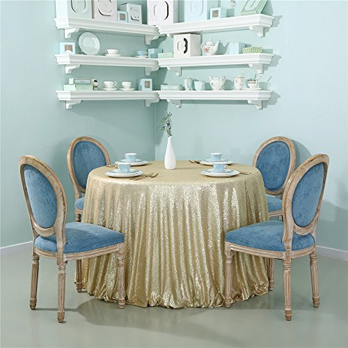 - Zdada Sequin Tablecloth 90inch Round, High Density Shiny Sequin, Matt Gold