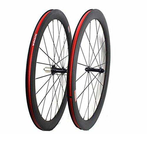Road Bike Wheel set 50mm Clincher Carbon Fiber Matte 25mm Width For Shimano or Sram 10/11 Speed 700C Wheels by WOKECYC (Image #1)