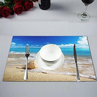 "InterestPrint Seashell on Snady Beach Linen Placemat Plate Holder Set of 2, Heat Insulation Resistant Summer Blue Ocean Wave Table Mats Protector 12""x18"""
