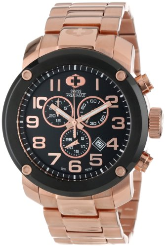 Swiss Precimax Men's SP13017 Marauder Pro Black Dial with Rose-Gold Stainless Steel Band Watch