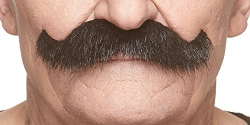 Mustaches Self Adhesive Fake Mustache, Novelty, Rocking Grandpa's False Facial Hair for Adults, Black Lustrous Color]()