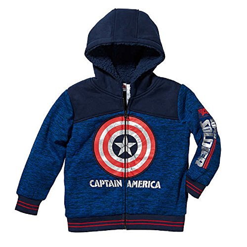 Superhero Captain America Little Boys Full Zip Hoodies Jacket (America Clothes Kids compare prices)