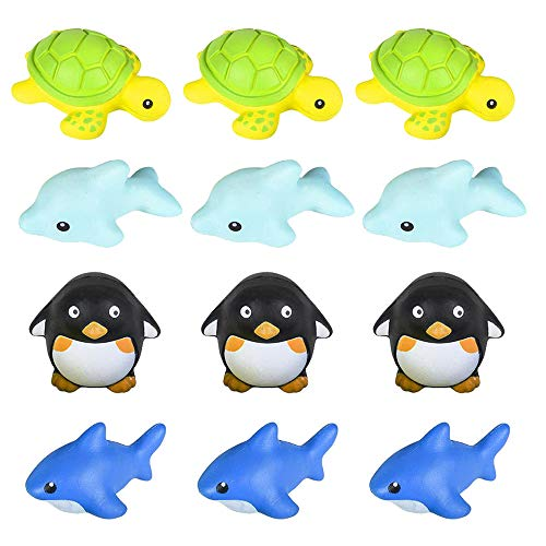 "(Sea Animal Squishy Assortment - Pack of 12, 3"" Squeezable Sea Life Decompression Toys - Perfect as Stress and Anxiety Reliever, Sensory Toy, Party Supply, Imaginative Play)"