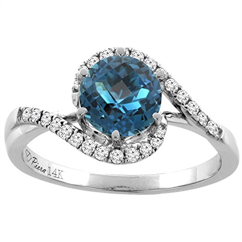 14K White Gold Diamond Natural London Blue Topaz Bypass Engagement (White Topaz Bypass Ring)
