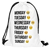 Emoji items are big right now! This drawstring backpack is made up with very high quality of material.You will love this school backpacks which has everyday of the week with a different emoji many people may be feeling that day.Here is what e...