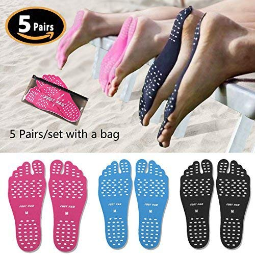- ecseo Beach Foot Pads for Barefoot Lover,Stick on Soles,Invisible Shoes Stick on Foot Pads,Foot Stickers,Nakefit Stick on Soles with Anti-Slip and Waterproof Design, 5 Pairs/Pack (Black,L)