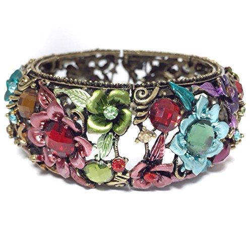 Gypsy Jewels Flower Floral Rhinestone Gem Wire Cuff Vintage look Large Gold Tone Bangle Bracelet (Multi (Enamel Silver Vintage Bracelets)