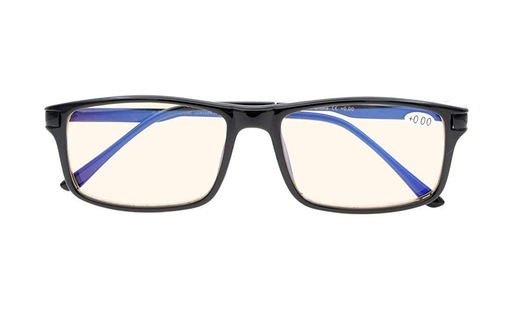 Reduces Eyestrain, Anti Blue Rays, UV Protection, Spring Hinges, Computer Gaming Reading Glasses Amber Tinted Lens) +1.25 LH-CGTR009-Black-125