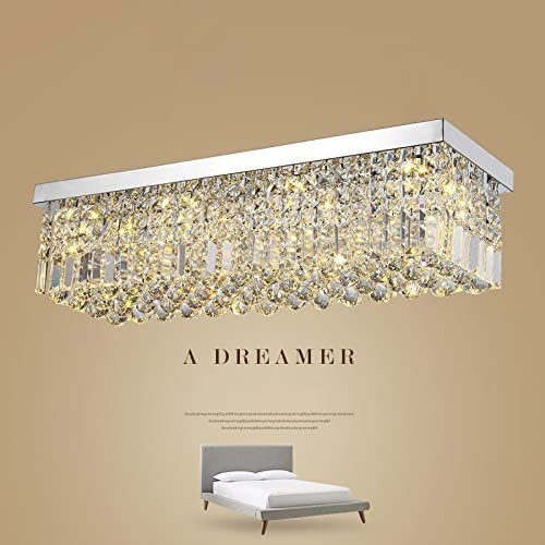 L47 Rectangular Rain Drop Crystal Chandeliers Lighting Modern Flush Mount Ceiling Light Fixture