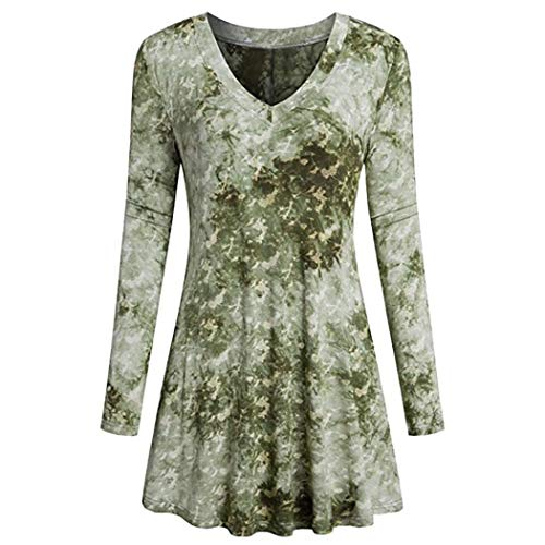 th Fashion Women Ladies Long Sleeve V-Neck Print Loose Tops T-Shirt Blouse (Green,XXL) ()