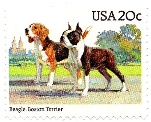 Terrier Postage Stamp - USA Postage Stamp Single 1984 Beagle Boston Terrier Issue 20 Cent Scott #2098
