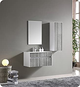 Fresca 32 Inch Wall Mount High Gloss Modern Bathroom Vanity With