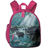 Black Bear Family In The Forest Double Zipper Waterproof Children Schoolbag With Front Pockets For Youth Boy Girl