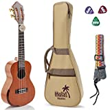 Tenor Ukulele Professional Series by Hola! Music (Model HM-427SMM+), Bundle Includes: 27 Inch SOLID Mahogany Top Ukulele with Aquila Nylgut Strings Installed, Padded Gig Bag, Strap and Picks